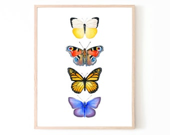 Butterfly Watercolor Print | home decor butterfly wall art butterfly decor art housewarming gift butterfly chart painting butterfly poster