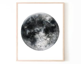 Full Moon Watercolor Print | black and white home decor wall art moon decor moon art housewarming gift moon painting moon poster