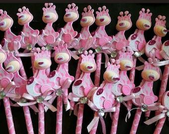 20pcs baby shower pink giraffe pens favors