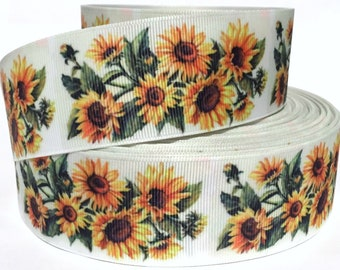 "Sunflowers on Purple Nature Fabric 7//8/"" Grosgrain Ribbon Wild Flowers"