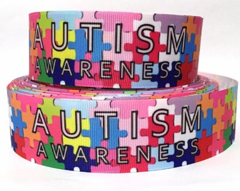 """Grosgrain Ribbon 5/8"""", 7/8"""", 1.5"""" & 3"""" Autism Awareness Puzzle Pieces Colors Printed USA Seller ( Add to Cart, Save on Combine Shipping)"""