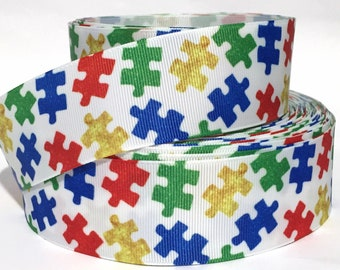 """Grosgrain Ribbon 5/8"""", 7/8"""", 1.5"""" & 3"""" Autism Awareness Puzzle Pieces Printed AU15 USA Seller ( Add to Cart, Save on Combine Shipping)"""