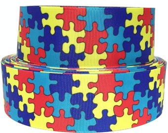 """Grosgrain Ribbon 5/8"""", 7/8"""" 1.5"""" or 3"""" Autism Awareness Puzzle Pieces  - AU7 - Blue red Yellow ( Add to Cart, Save on Combine Shipping)"""