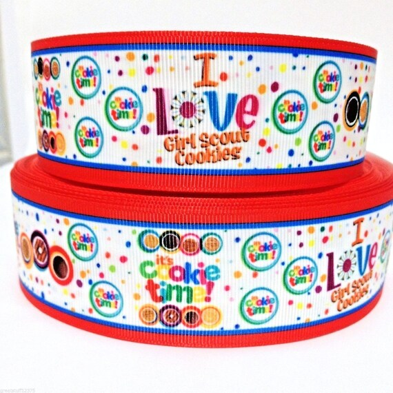 """Girl Scout Cookies 1/"""" grosgrain ribbon the listing is for 5  yards total"""