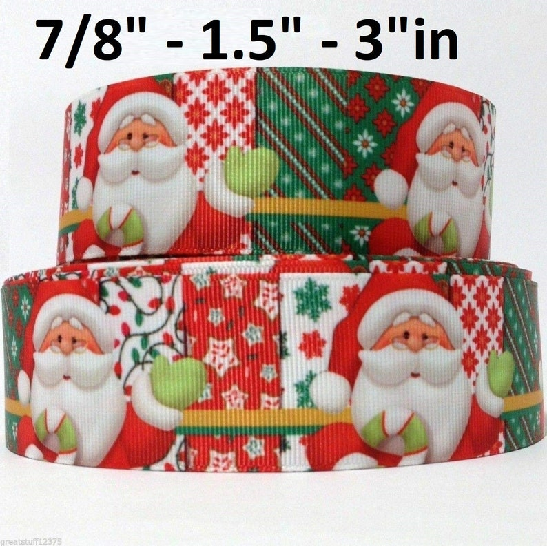 Grosgrain Ribbon 1 Christmas Santa Candy /& Christmas Trees