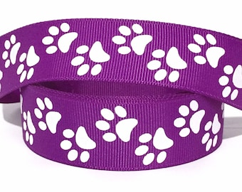 "GROSGRAIN RIBBON 1"" White Paw Prints on Dark Purple V19 Dogs By the Yard Printed"