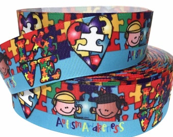 """Grosgrain Ribbon 5/8"""", 7/8"""",  1.5"""" & 3"""" AUTISM Awareness Puzzle Pieces Kids Printed AU14 ( Add to Cart,  Save on Combine Shipping )"""