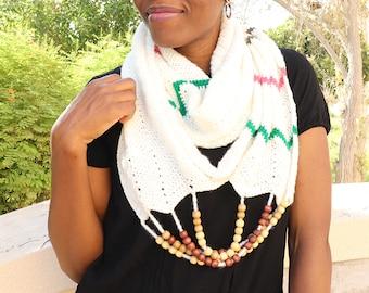 Crochet Scarf Pattern- Crochet Infinity Scarf, Chevron Scarf, Beaded Scarf, Fall Wear