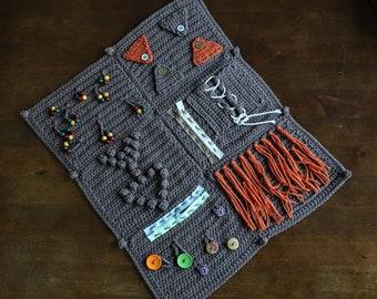 Crochet Fidget Blanket Pattern- activity blanket for dementia, crochet blanket, sensory blanket, fidget blanket, alzheimers fidget blanket