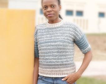 Cropped Crochet Sweater Pattern- Short Sleeve Sweater, Cropped Sweater, Cozy Sweaters, Crochet Garment