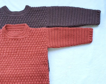 Crochet Sweater Pattern for Boys, Boys Sweater, Winter Clothing, Chunky Sweater, Brown Sweater, Children's Clothing