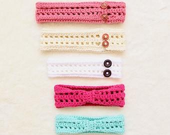 Crochet Baby Headband Pattern, Headband for girls, D.I.Y Headband, Crochet Accessory, Buttoned Headband, Simple Crochet, Quick Crochet