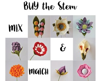 Mix & Match / Felt Flowers / Felt Flower Stem / Flower Stem / Felt Flower Bouquet / Felt Bouquet / BUY the Stem