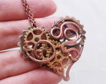 Steampunk heart necklace Heart pendant Copper wire heart Wire copper jewelry Copper necklaces Wire wrapped pendant Mothers day gift