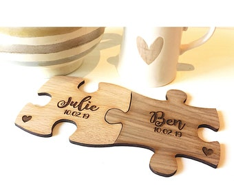 Set of Four Boxed Wooden Jigsaw Puzzle Piece Coasters with 4 Fun Quotes