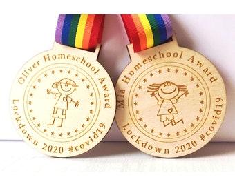 Personalised Reward Lockdown Homeschool Rainbow Children Medal (Now 2020/21 or 2021) Any wording