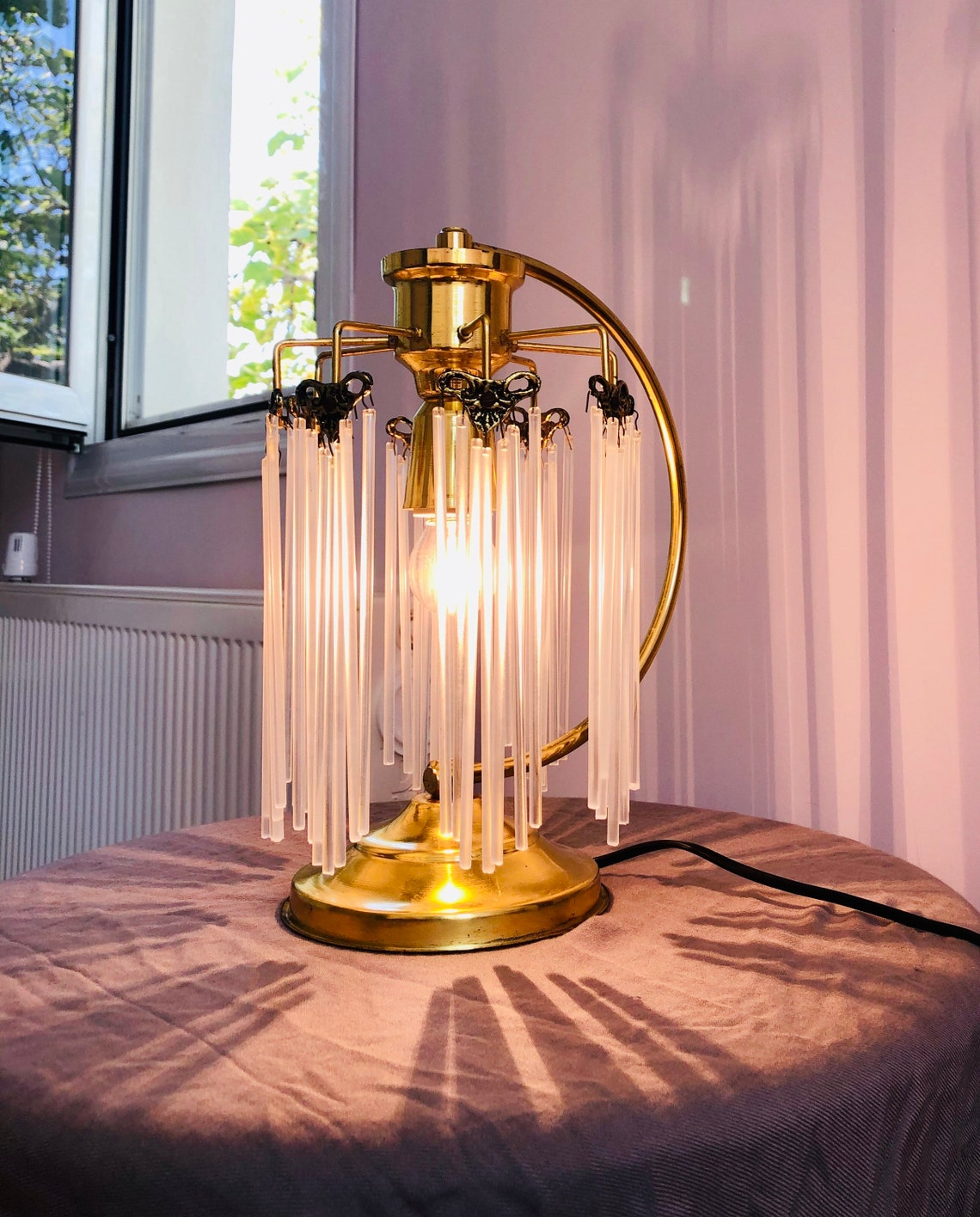 Vintage Murano Glass Table Lamp Antique Brass  Art Deco Retro Dining room  Bathroom Bedroom Indoor Light Shade Fixture 1980's