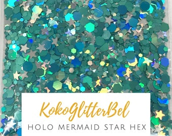 Super Holographic Holo Mermaid Teal Sea Green Chunky Hex Glitter Mix Solvent Resistant for Nail Art * Stars * 5 or 10 grams All the Colors!