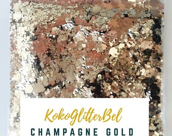 Light Gold Champagne Metallic Glitter Hex Mix Solvent Resistant for Nail Art * Champagne Gold * 5 grams