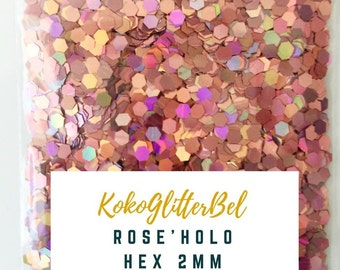 Pink Holographic Holo Metallic Glitter Hex Mix Solvent Resistant for Nail Art * Rose Holo * 5 grams 2MM Size