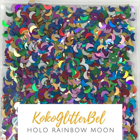 Rainbow Moon Glitter Mix Crescent Shape Holographic Nail Art Red ...