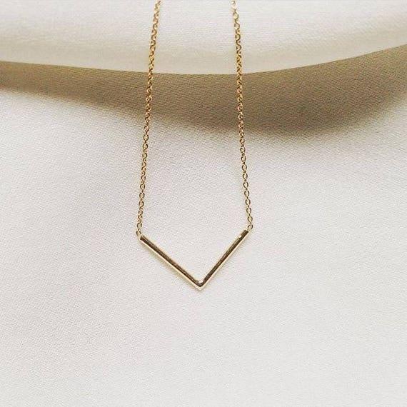 14k Chevron Necklace 14k V Shape Necklace 14k V Necklace Etsy