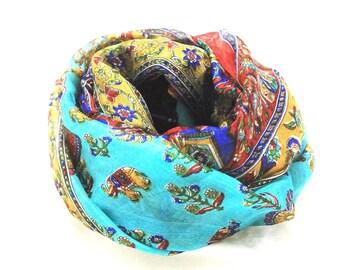 a507aff4a31647 Leinen-Verbindungen Seide Schal Hals wickeln Kopf Schal indischer Schal  Stol Wintermode Boho Paisley handgemachte Vintage