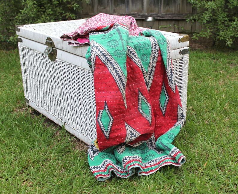 Vintage Hand Made Indian Kantha Bed Spread Blanket Throw Boho Home Decor Linen Connections Patchwork Boho throw kantha quilt baby blanket