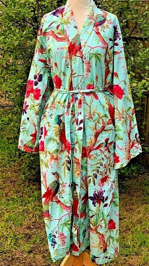 Kimono Cotton Kimono Bathrobe Frida Valentines Day GiftBird Bathrobe Turkish Bathrobe Cardigan Nightwear Dressing Gown Beach Bikini Summer