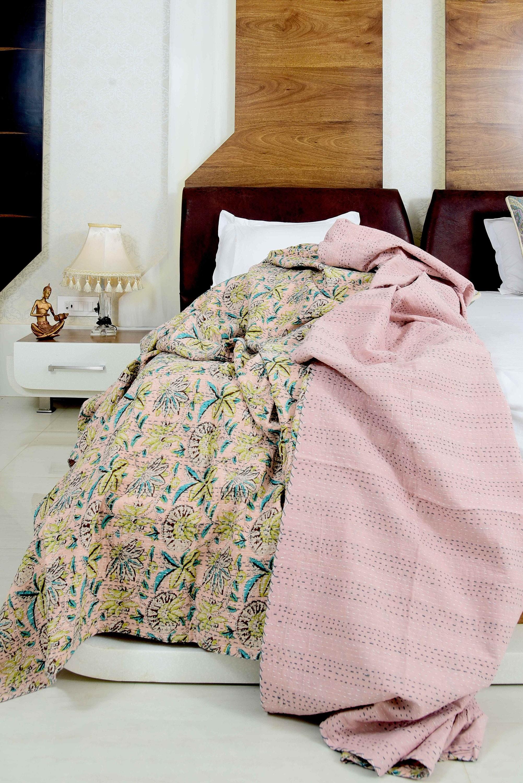 Vintage Hand Made Indian Kantha Bed Spread Blanket Throw Quilt King Size Home DecorBedroom Boho Decor