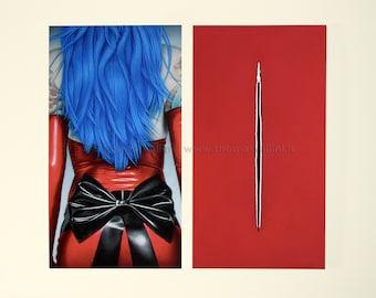 Print art on fine paper-Overture-print Pin-Up latex tattoos hair staple zipper