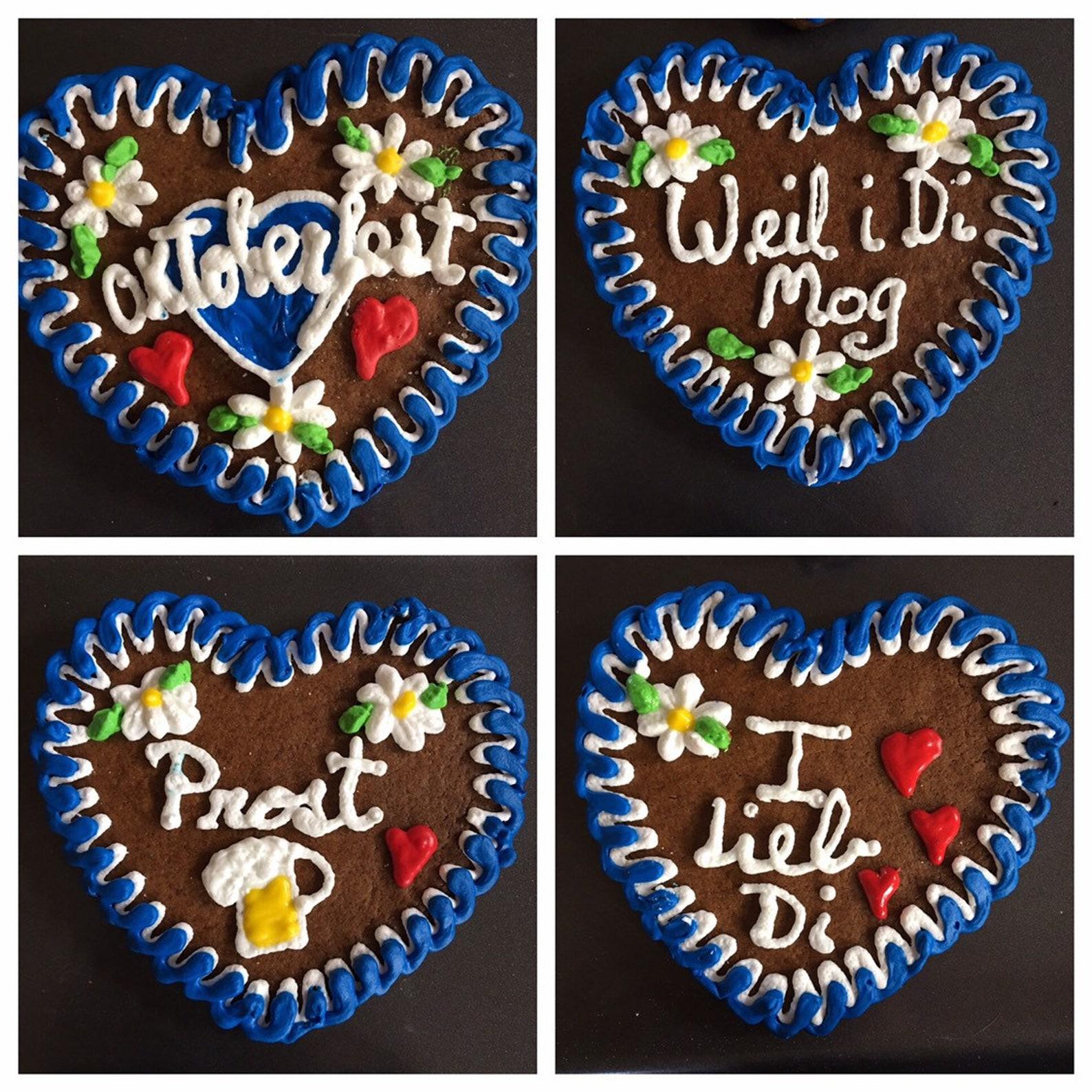 Oktoberfest Gingerbread Lebkuchen Heart Cookies Lebkuchenherz - 4 Hearts (4.5
