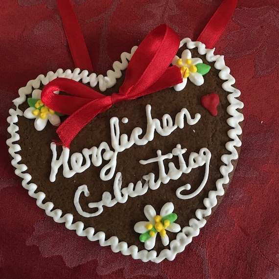 Gingerbread Lebkuchen Heart Lebkuchenherz Cookies 1 Dozen 12 Cookies Hearts Personalized 4 5 German Baked Goods Party Favor