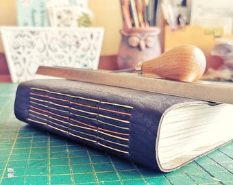 Charcoal leather watercolour journal. Hand bound and one of a kind.