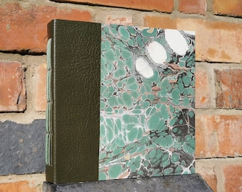 Green marbled journal | Large square shape | Watercolour paper | Unique | Hand bound