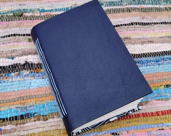 Prussian blue leather watercolour journal. Hand bound & one of a kind.