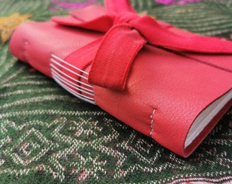 Red Leather Wrap Around Watercolour Journal | Unique | Hand Bound