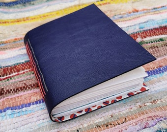 A6 Prussian blue leather mixed paper journal. Hand bound & one of a kind.