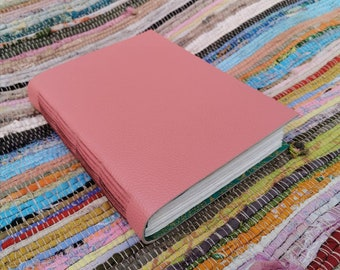 A5 dusky pink leather watercolour journal. Hand bound and one of a kind.