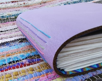 Lilac leather watercolour journal. Hand bound and one of a kind.