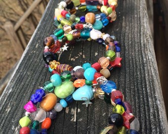Rainbow Bracelet / Boho Bracelet / Memory Wire Bracelet