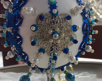 Ornate and Embellished blue and white Victorian style ornament