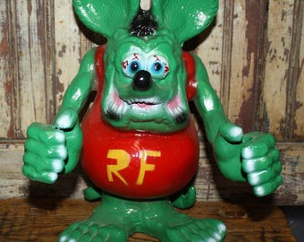 Rat Fink Soft Rubber Gift Custom Double Sided Key Chain Blue Action Figure