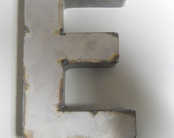 """9/"""" RUSTIC Reclaimed Metal Industrial LETTER U 2/"""" thick 3D TIN Sign ARCHITECTURAL"""