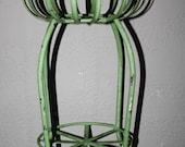 Rustic PLANTER Basket Antique Victorian Style Garden Plant Hanger Plant Stand GREEN