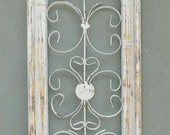 Wooden Antique Style Church WINDOW Wrought Iron Primitive Wood Gothic 27 INCH Chippy White Shabby