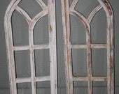 2 Wooden Antique Style Church WINDOW Frame Shutters Wood Gothic 35 1 2 quot Shabby