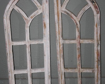 2 Wooden Antique Style Church WINDOW Frame Shutters Wood Gothic 35 1 Shabby