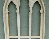 Wooden Antique Style Church WINDOW Frame Primitive Wood Gothic 30 1 4 quot Shabby