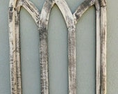Wooden Antique Style Church WINDOW Frame Primitive Wood Gothic 32 1 4 quot Shabby